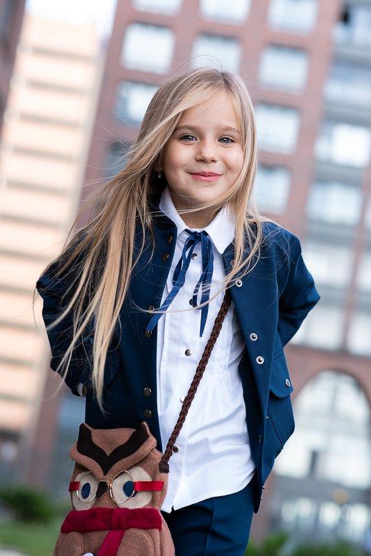 Белая школьная блузка с защипами 2020 1