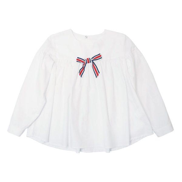 Белая школьная блузка со сборкой и бантом на лифе