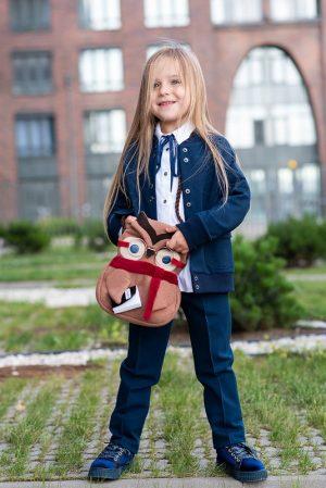 Школьные брюки для девочки синие со стрелками