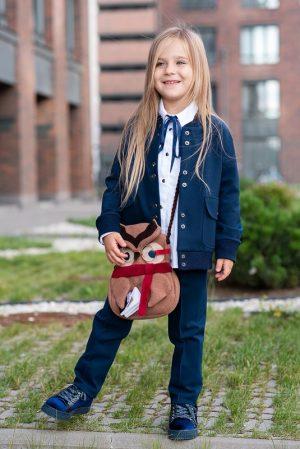 Школьный жакет для девочки, с накладными карманами