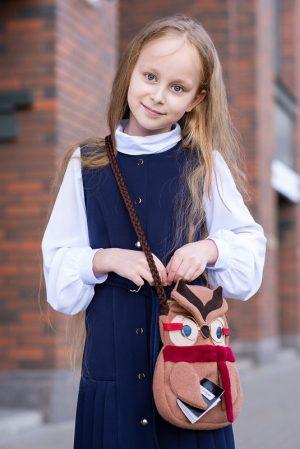 Детская сумочка в виде Умной Совы, текстильная с кожаной отделкой
