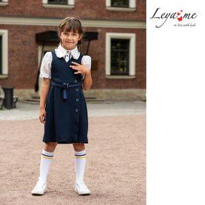 Синий школьный двубортный сарафан для девочки, с застежкой на пуговицы