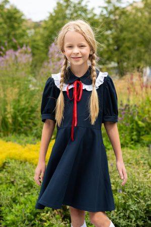 Синее детское школьное платье с расклешенной юбкой, рукавами-фонариками и съемным воротником в комплекте