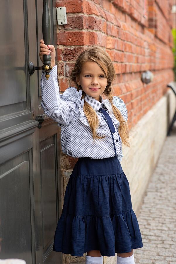 Детская синяя школьная юбка с оборками