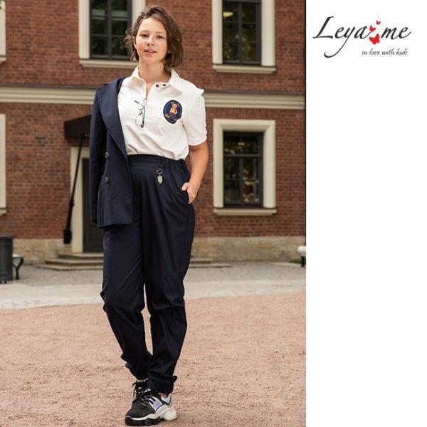 Синие детские школьные брюки для девочки
