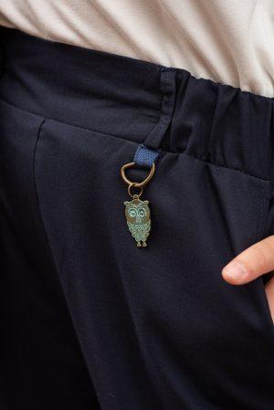 Синие детские школьные брюки для девочки, с манжетами