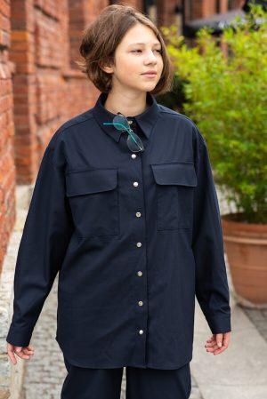 Удлиненная синяя школьная рубашка для девочки, из костюмной ткани