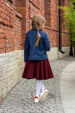 Синий замшевый школьный жакет с окантовками для девочки