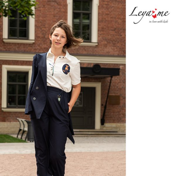 Трикотажная школьная рубашка-поло с коротким рукавом для девочки