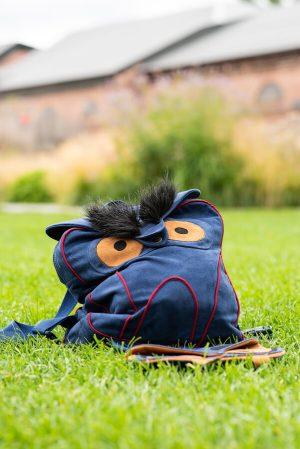 """Детский школьный рюкзак из замши с аппликацией """"Сова"""""""