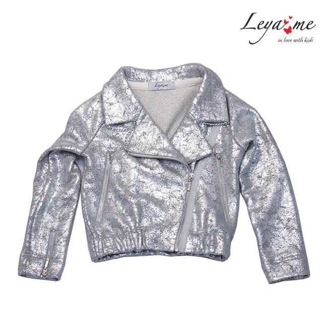 Cеребристая трикотажная детская куртка-косуха для девочки 2020 1