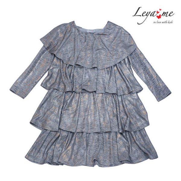 Платье-трапеция серебристо-серое с оборками на девочку
