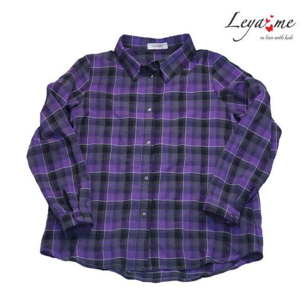Рубашка в клетку фиолетовая на девочку