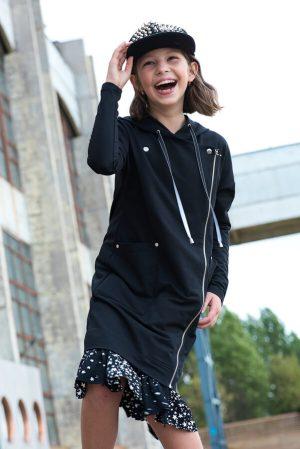 """Детское платье-косуха черное с капюшоном и оборкой """"Звездное небо"""" для девочки"""