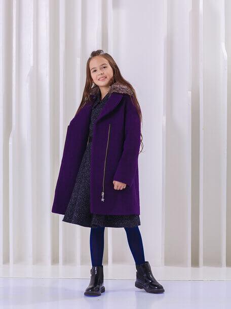 Пальто детское фиолетовое со съемным меховым воротником на девочку