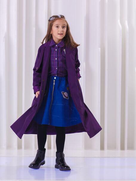 Плащ детский темно-фиолетовый с отлетными кокетками на девочку 2020 1