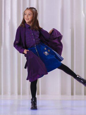 Плащ детский темно-фиолетовый с отлетными кокетками на девочку