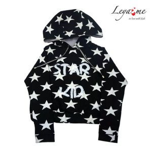 Толстовка детская с капюшоном укороченная  черная со звездами  Star kid на девочку