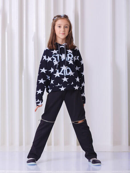 Толстовка детская с капюшоном укороченная  черная со звездами  Star kid на девочку 2020 1