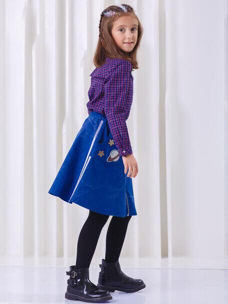 Рубашка детская из хлопка в клетку с отлетной кокеткой на девочку