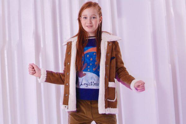 Куртка-дубленка детская с нашивками