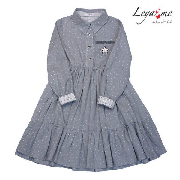 Платье-рубашка детское серое с оборками и нашивкой  на кармане на девочку