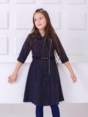 Детское платье-косуха с асимметричной застежкой, юбкой трапецией и накладными  карманами