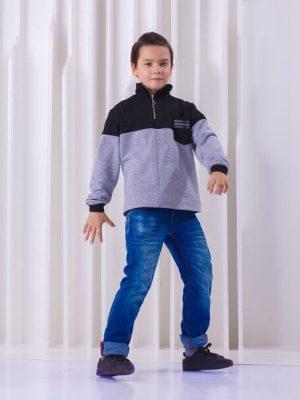 Свитшот детский с молнией  на горле и черной вставкой