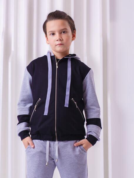 Бомбер серо-черный детский на молнии с черными вставками на рукавах