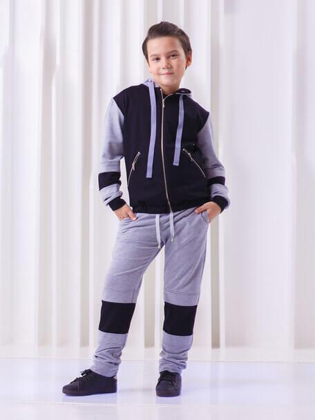 Брюки серые детские с черными вставками на коленях
