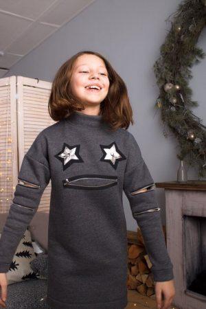 Платье-туника детское серое с молниями на рукавах , на горле и с аппликацией