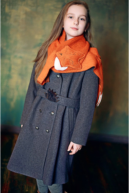 Оранжевый детский шарф в виде лисички