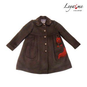 Коричневое детское пальто для девочки, с белочкой