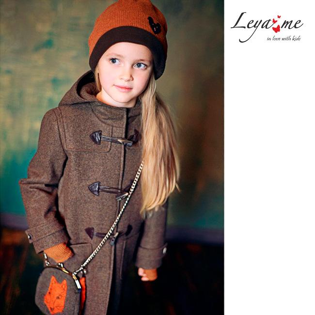 Теплое серое детское пальто-дафлкот для девочки