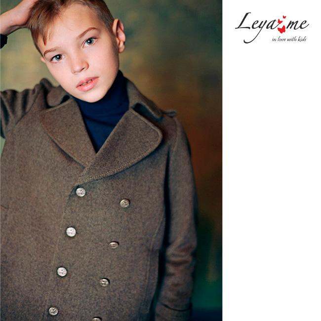 Теплое серое детское пальто-бушлат для мальчика