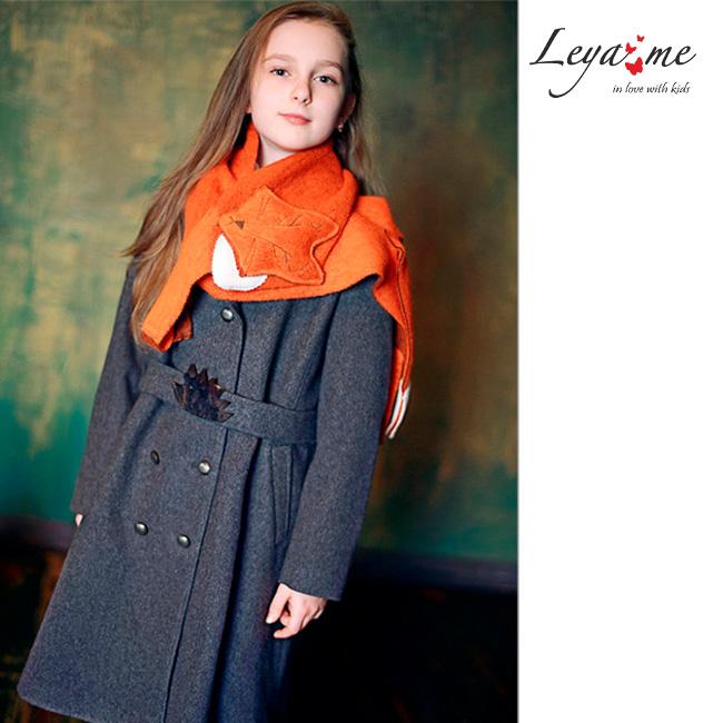 Теплое серое детское пальто-бушлат для девочки